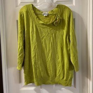 Chaus Chartreuse 3/4 Sleeve Scoop Neck Sweater Top